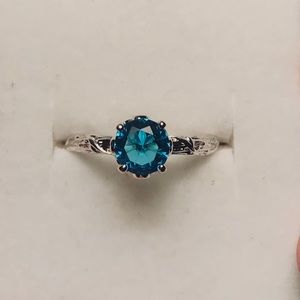 Jewelry - Aquamarine Silver Plated Ring size 8